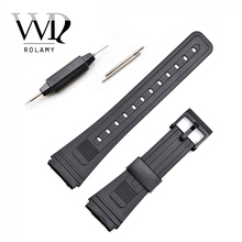 купить Rolamy 20mm Watch Band Strap Loop Silicone Rubber Straight End With Black Plastic Pin Buckle Men Lady Black Watchband Watch Belt по цене 152.41 рублей