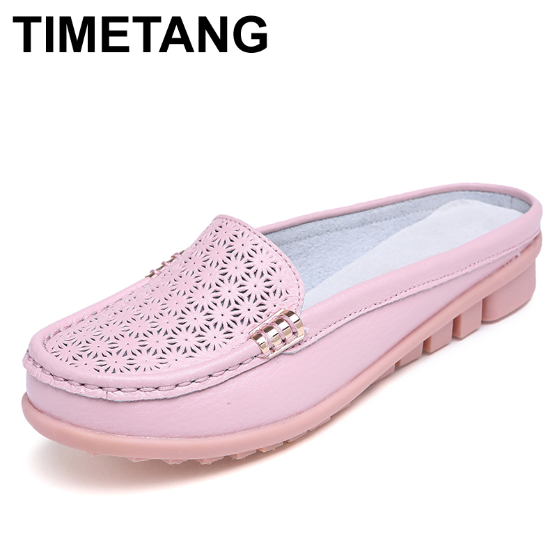 TIMETANG Women sandals summer half slippers flip flops Soft Leather sandals clogs Shoes Comfortable Sandals Woman Plus Size mnixuan women slippers sandals summer