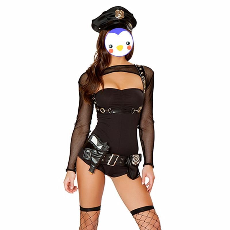 Newest Black Bad Cop Costume Halloween Women Sexy Police Cosplay Costumes Cop Bondage Costume Sexy Mesh Bodysuit Cosplay Costume