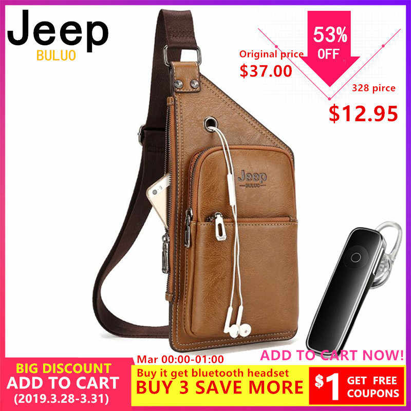 4d1fc6df128 JEEP BULUO Famous Brand Man's Sling Bag Leather Mens Chest Bags Fashion  Simple Travel Crossbody Bag