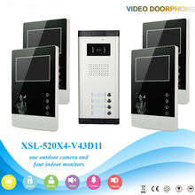 YobangSecurity Wired 4.3″ Inch Monitor Video Door Bell Phone Intercom Home Gate Entry Security Kit System For 4 Unit Apartment