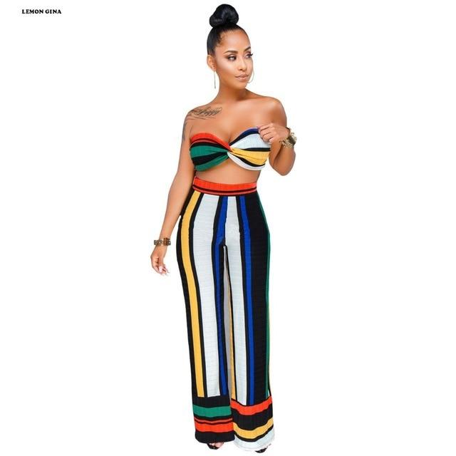 01831c991ffa8 Lemon Gina Summer Women s Rainbow Stripe Print Strapless Crop Top and Wide  Leg Pants 2pcs Sets