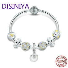 DISINIYA  925 Sterling Silver White Daisy Flower Dazzling CZ Pendant Bracelets Bangles for Women Jewelry SCB806