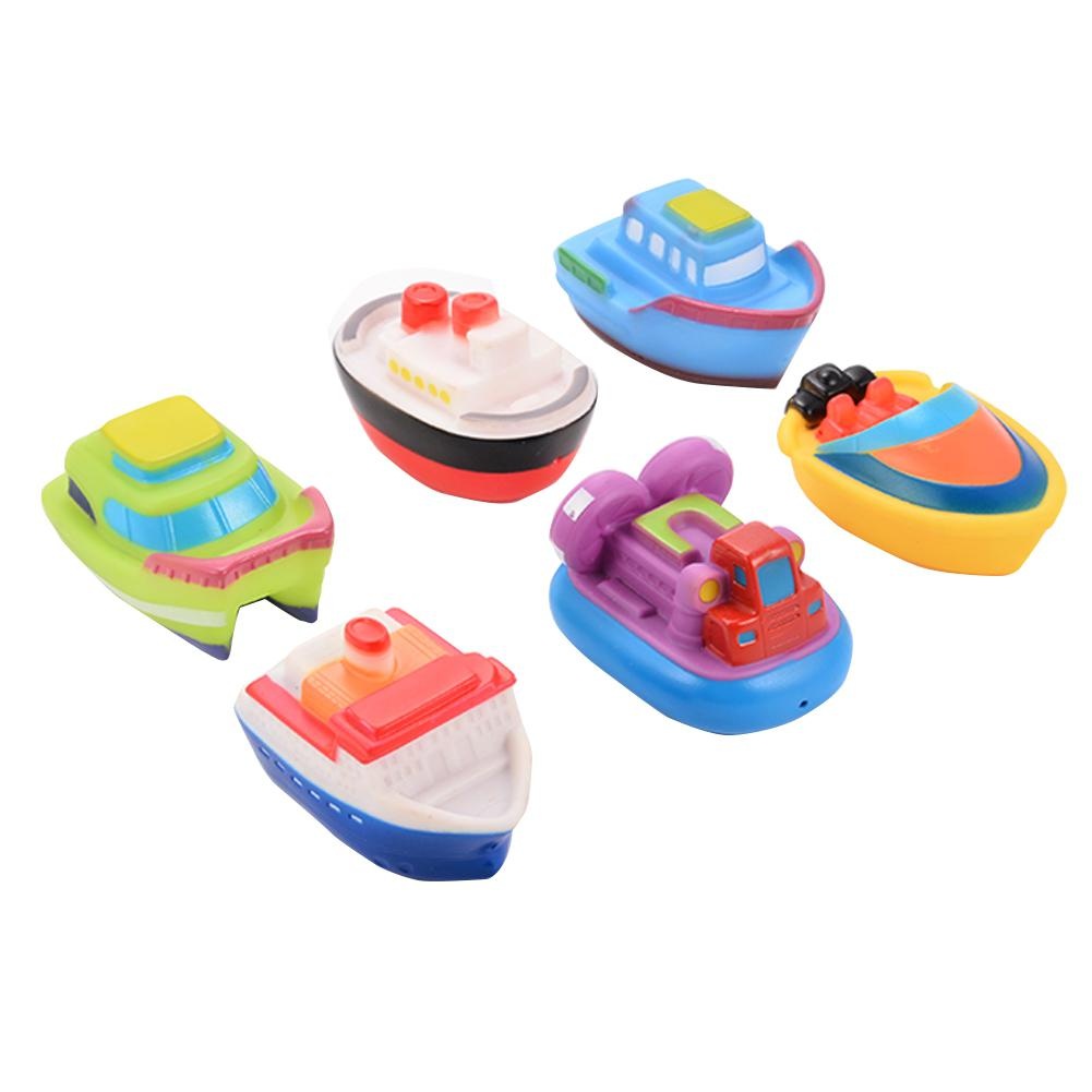 RCtown 6pcs Floating Boat Squirting Bath Toy Rubber Baby Bath Toys HWD30