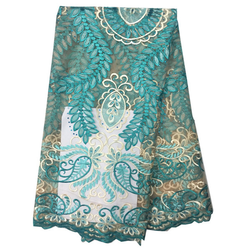 African Blue Color French Net Lace Fabric with Beads Flower Pattern Mesh Tulle Lace Fabric For Party Nigerian lace fabric OF