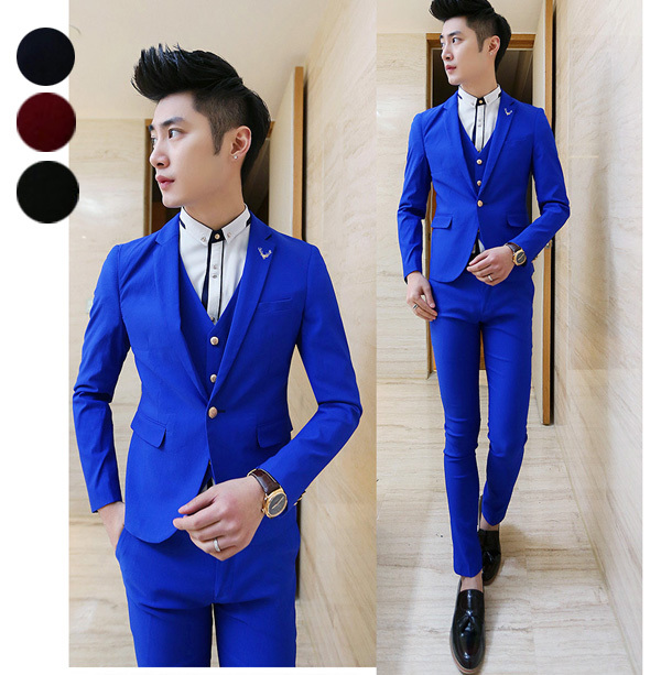 NEW Korean men suits mens 3 piece suits slim fit men wedding ...