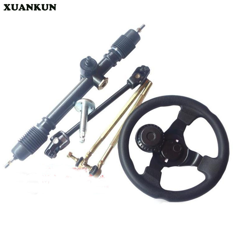 цены  XUANKUN Karting Accessories Steering Wheel Direction Machine Universal Joint Direction Wheel Seat Rod Direction Machine 56CM
