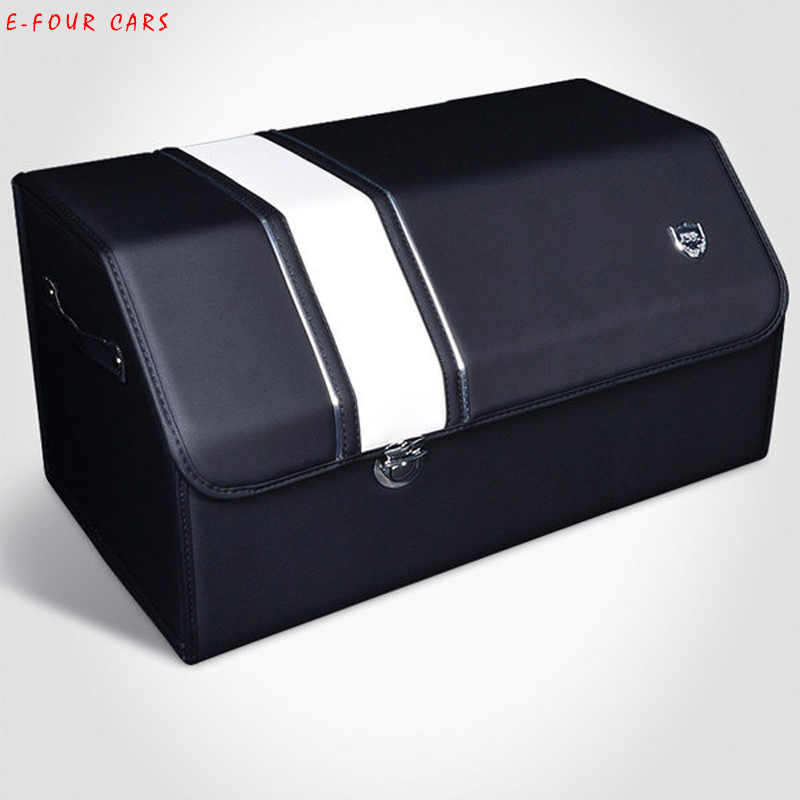 E-FOUR Middle Size Trunk Box wood Board Fibre Faom Fill Leather Cover Car Rear Business Class Elegant Storage Cars