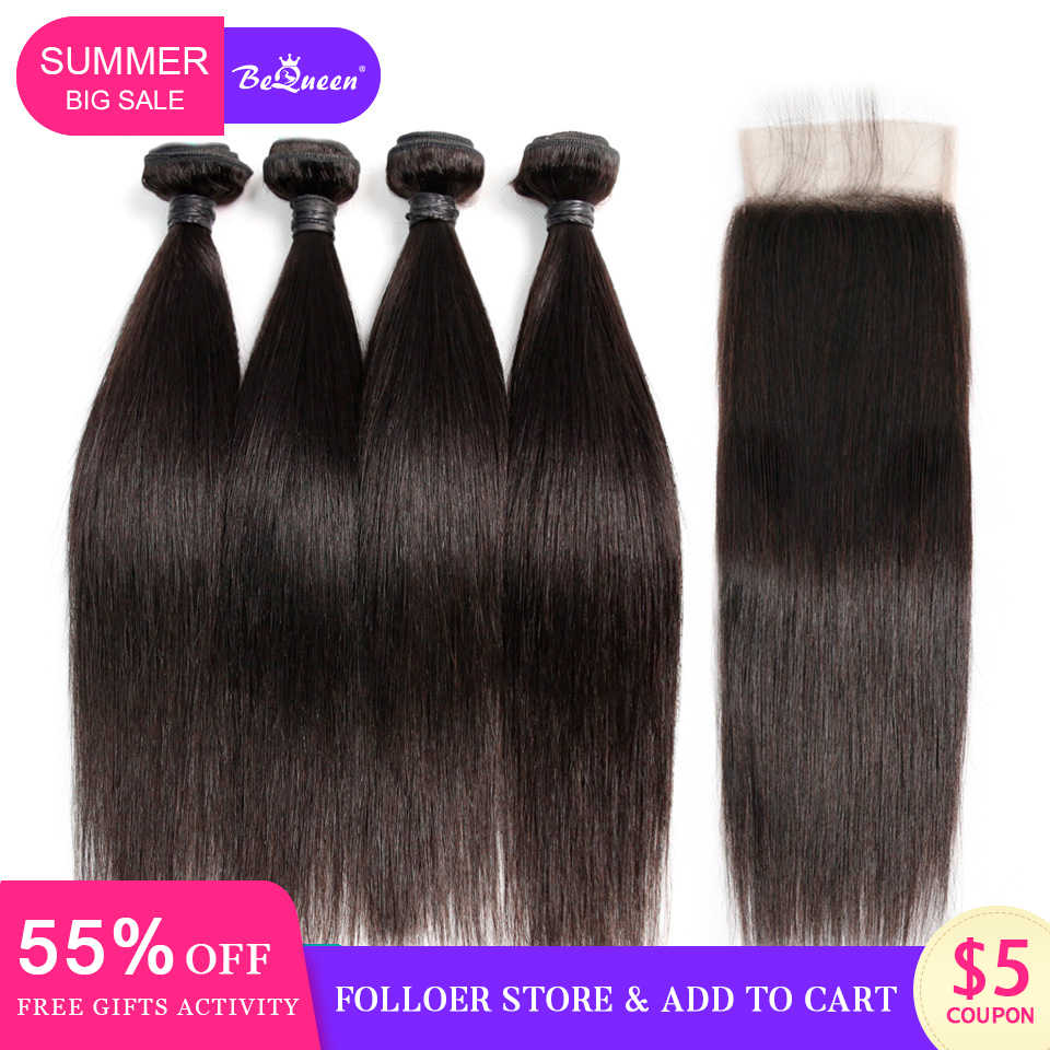 Bequeen Peruvian Hair Weave 4 Bundles With Closure Straight Wave Human Hair Bundles With Closure Raw Virgin Human Hair Extension