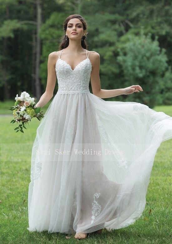 Spaghetti sangle une ligne robe de mariée en dentelle Boho Simple robes de mariée longueur de plancher Tulle robes de mariée Sexy dos nu