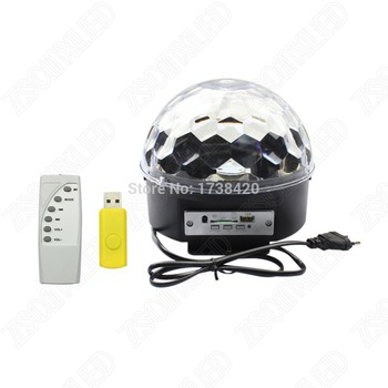 6leds* 3W Crystal Magic Ball LED Stage Lighting Effect RGB Music Laser light Remote controller + USB Party Disco DJ party home