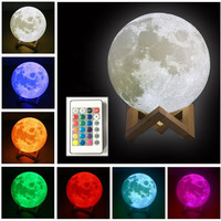 3D Printed Moon Lamp 16 Colors Dimmable 5 9 Inch Remote Control Baby Night Light USB