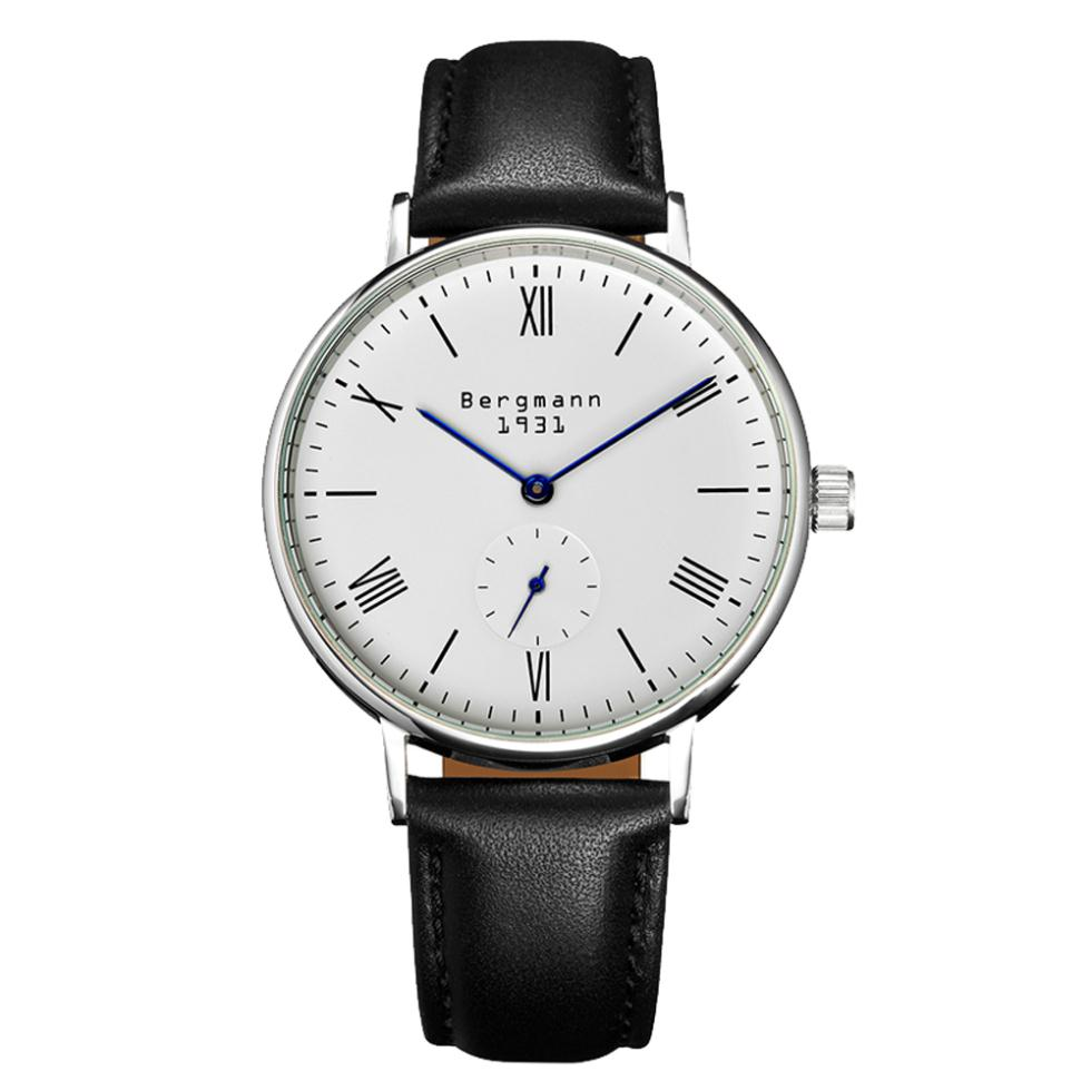 popular german watch mens buy cheap german watch mens lots from german brand bergmann classic bauhaus style watches for men women white dial black leather casual wristwatches
