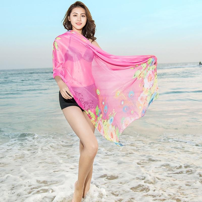 Women Chiffon   Scarf   Luxury Brand Female Beach Silk   Scarf   Pashmina Fashion Lady Girls   Scarves     Wrap   Shawl Lic
