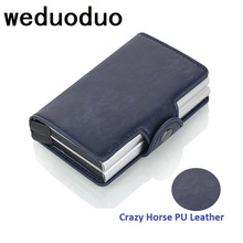 2019 New Men Business Credit Card Holder Crazy Horse PU Leather Card Holder Metal RFID Double Aluminium Box Travel Card Wallet цена и фото