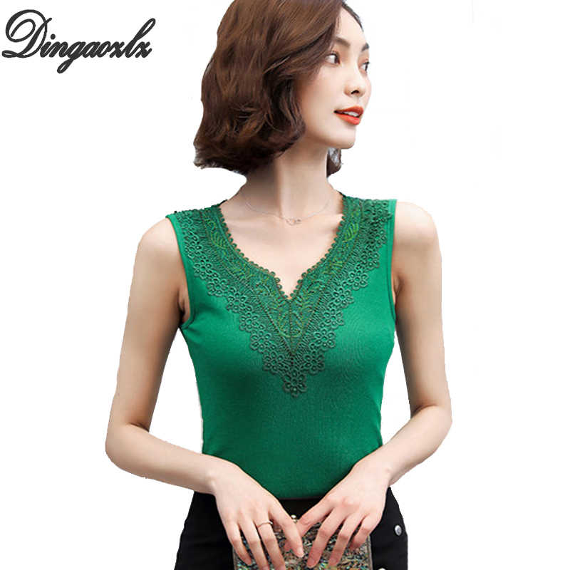 Dingaozlz S-4XL Fashion knitted Lace Blouse Plus size Women Tops Summer Sexy V neck Casual Sleeveless shirt