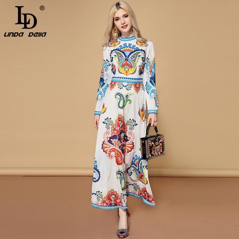 LD LINDA DELLA Fashion Runway Autumn Long Sleeve Dress Women s Multicolor Floral Print Boho Holiday