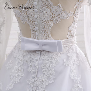Image 5 - Boat Neck Beaded Sashes Vintage Wedding Dress 2020 Embroidery Appliques Pearls Crystal Beads Ball Gown Wedding Dresses W0007