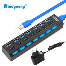 Windyoung USB Hub 3 0 High Speed 7 Port USB 3 0 Hub with EUPower Adapter