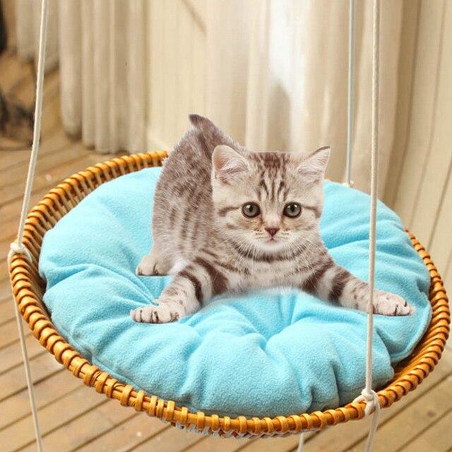 Tejer a mano redonda Cama de Gato hamaca cama nido Sunny asiento CAT ...