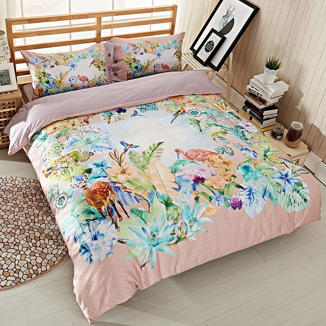 Bright Colored Watercolor Deer Animal Bird Flowers Bedding Set Queen Size  Quilt Cover Bed Sheets Pure