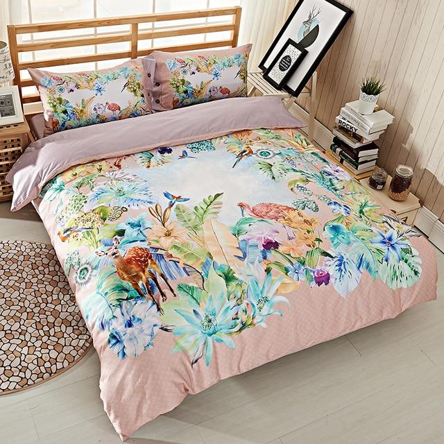 Bright Colored Watercolor Deer Animal Bird Flowers Bedding Set Queen ...