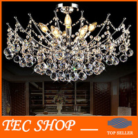 JH Modern LED Crystal Chandelier Light Fixture Chrome Finish Luster Crystal Lamp For Living Room Bedroom