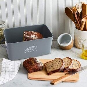 Image 5 - Saklama Kutuları Ekmek Kutuları Bambu Kesme Tahtası Ile Kapak Metal Galvanizli aperatif kutusu Kolları Tasarım Mutfak Konteynerler Ev Dekor