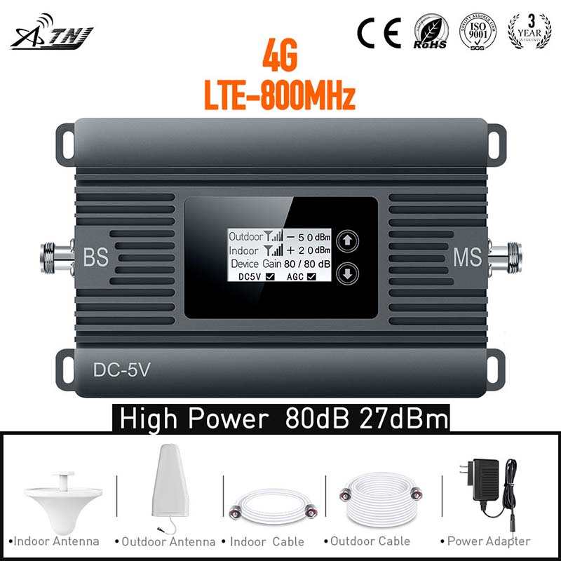 New Item LTE 800MHz Mobile Signal Booster 4G Cell Phone Signal Repeater For Full Set With High Gain And Large Coverage