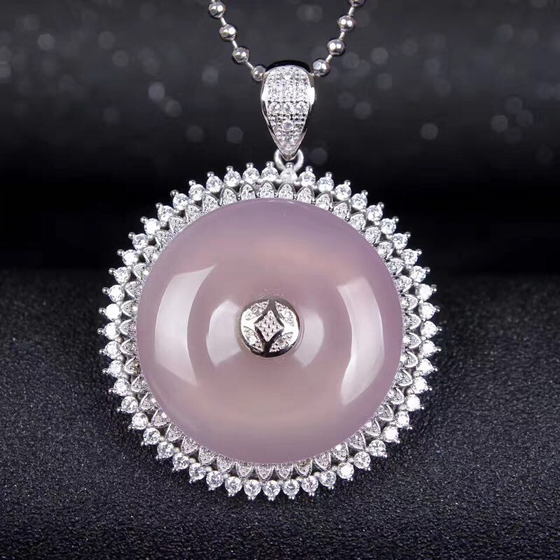 Natural Brazil High Ice Purple Chalcedony Agate Buckle Pendant Necklace Sweater Chain Jewelry Gift Wholesale 925 silver green yellow chalcedony agate pendant buckle female sweater chain large round jade pendant