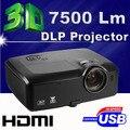 Ультра яркость 300 inch 7500 ANSI Люмен HDMI 3D WXGA Мультимедийный DLP Портативный Открытый Проектор proyector проектор для Рекламы