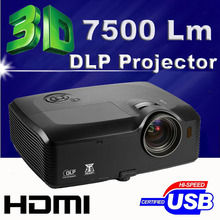 Extremely brightness 300inch 7500ANSI Lumen HDMI 3D WXGA Multimedia DLP Moveable Outside Projector Proyector beamer for Promoting