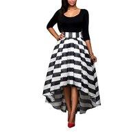 Kadın Balo Sonbahar Elbise Yarım Kollu Patchwork Şerit Uzun elbise Siyah Parti Elbiseler Bayanlar Yüksek Düşük Hem Tunik Maxi elbise