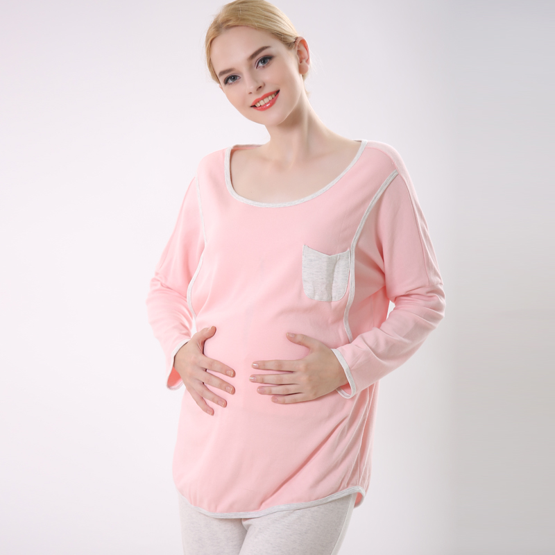 New fashion women maternity cotton t-shirt nursing clothes sets tracksuit sets pink and blue L,XL,XXL цены онлайн