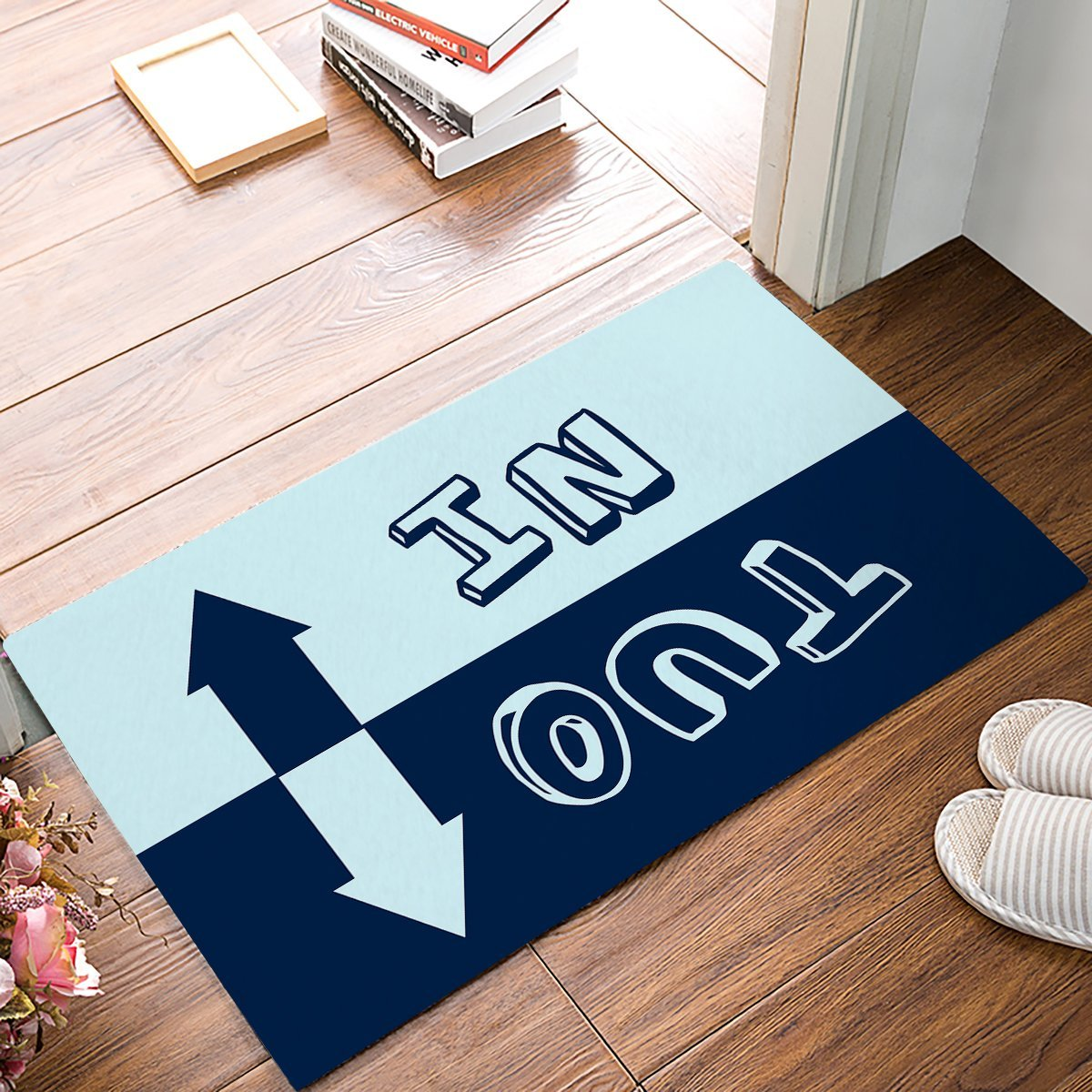 Light And Dark Blue Arrow In & Out Funny Pattern Door Mats Kitchen Floor Bath Entrance Rug Mat Absorbent Indoor Bathroom