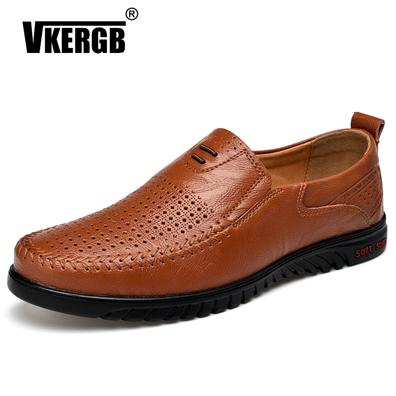 New Openwork Men Black Loafer perforated Shoes 100% Genuine Leather flats driving shoes business men's shoes casual best quaitty