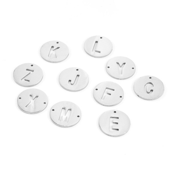 alphabet A-Z letters Round Pendants hollow out 20mm round both sides mirror polish Stainless steel wholesale 100pcs