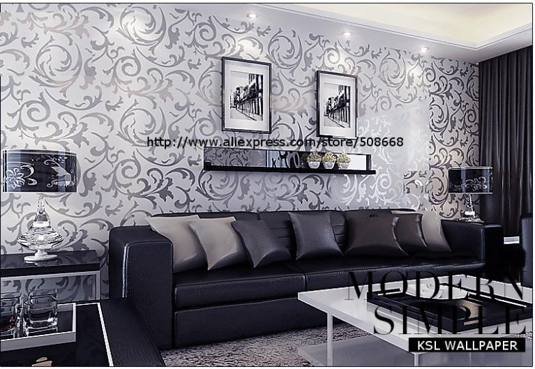 Genuine Victorian Glitter Wallpaper Silver Background Wall Pvc Roll Papers Home Decor For Living Room Bedroom In Wallpapers From