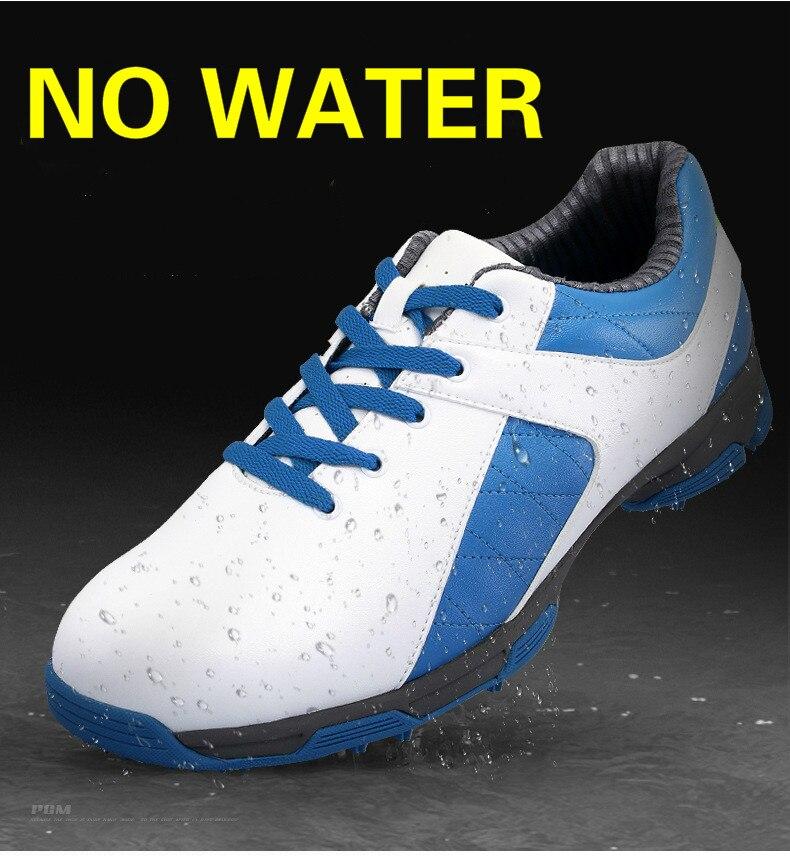 Hommes chaussures de Golf chaussures de sport de plein air imperméables EVA semelle intermédiaire en microfibre cuir respirant Anti dérapage clous pointes torsion - 4
