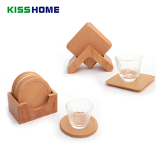 6pc/set Beech Wooden Coffee Pat with Frame 9x9x0.8cm Qquare Circular Tea Cafe Wares Water Cup Sweet Dessert Insulation Mat