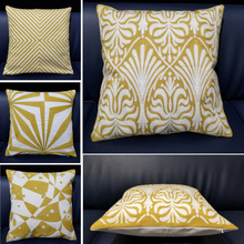 Nordic Style Yellow Cushion Cover Decorative Pillows Square Geometric Cushions Covers Home Decor Office Car Throw Pillow Case