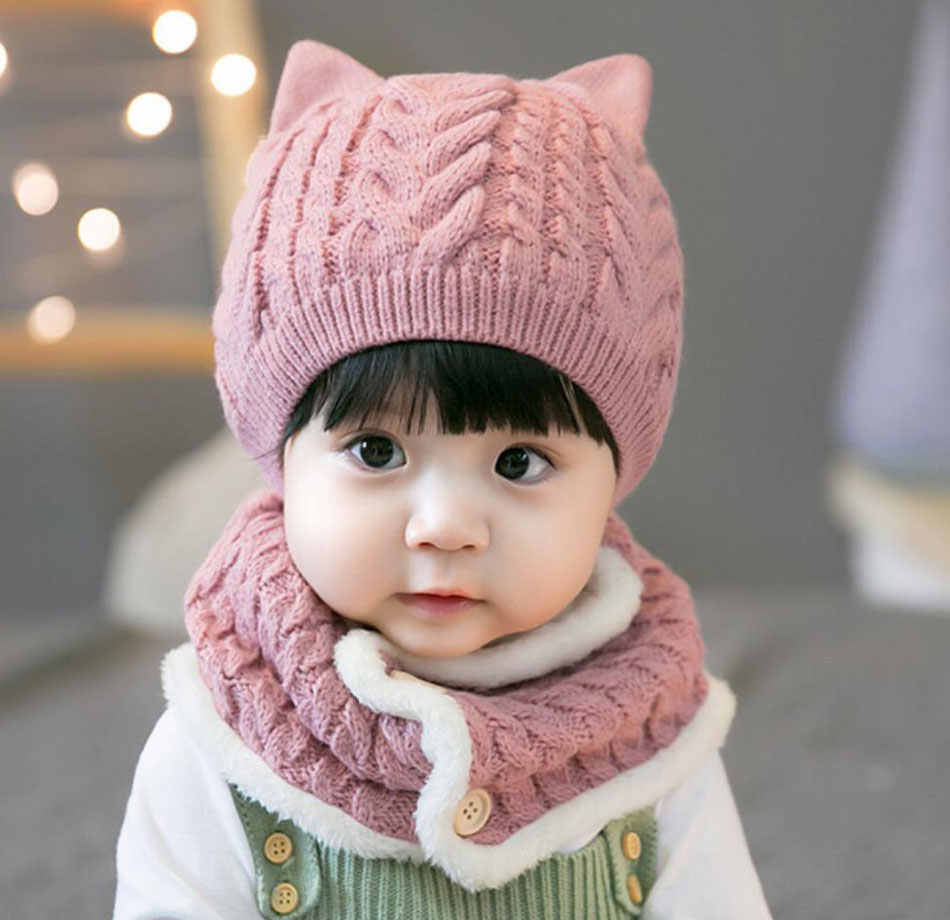 e2f2826e2d5 ... Winter Baby Girl Hat And Scarf Set For Children Boys Kids Thick Cable Knit  Ear Beanie ...