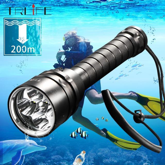 ดำน้ำสำหรับไฟฉาย LED ไฟฉาย 5 * T6 L2 ไฟฉาย 200M ใต้น้ำกันน้ำยุทธวิธี Professional DIVE โคมไฟโคมไฟ