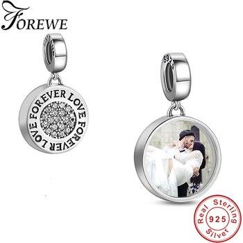 66ad7520815b Personalizado foto nombre 100% Real de cristal de Plata de Ley 925 para  siempre amor encantos Fit pulsera de Pandora Original regalo de la joyería