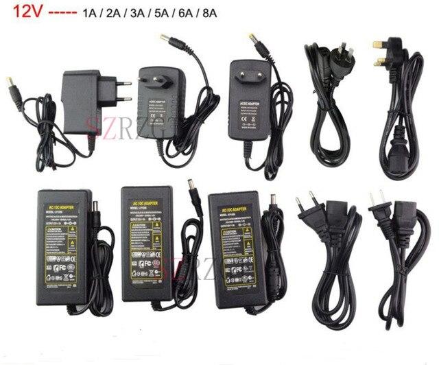 LED محول 12 فولت 1A 2A 3A 5A 6A 8A 10A وحدة تغذية طاقة مزودة بشرائط ضوء ملونة محول الجهد المنخفض سائق التوصيل لشريط LED والكمبيوتر