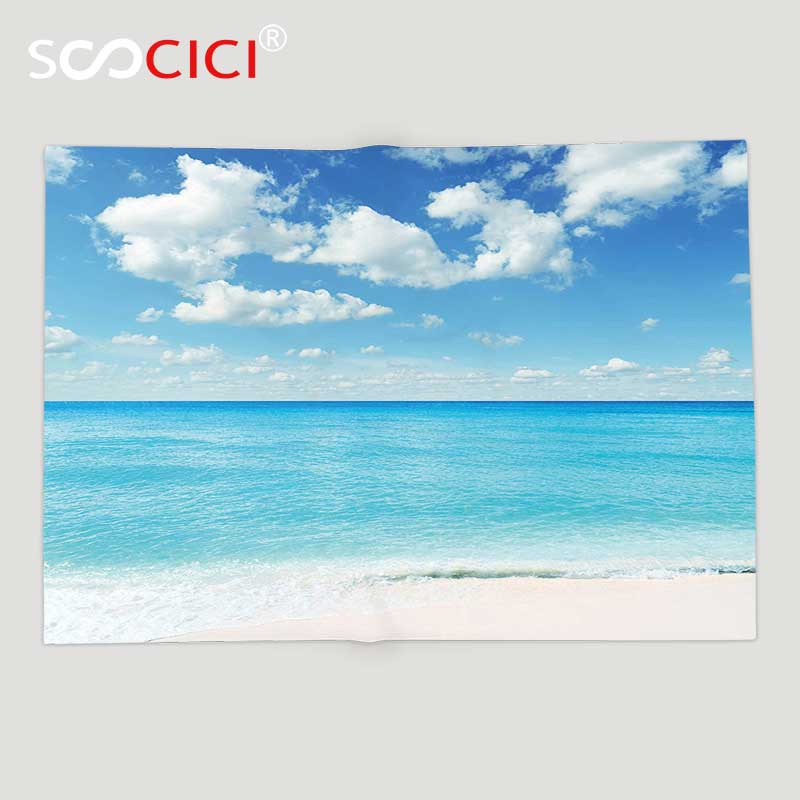 Custom Soft Fleece Throw Blanket Tropical Exotic Beach with Vivid Sky Sunny Day Holiday Relaxing Ocean Island Scenery Sky Blue