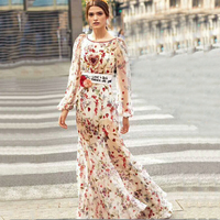 100% Silk Maxi Dress Bead Floral Heart Glitter Embroidery Heavy Work Long Sleeve Backless Elegant Women Holiday Long Dresses