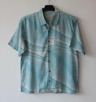 Mężczyźni Ocean niebieski jedwab koszulka z krótkim rękawkiem US duży rozmiar L XXL XLX hawaje bluzka wyspa styl Casual skręcić w dół kołnierz tanie i dobre opinie sallyaries SILK Koszule Pojedyncze piersi REGULAR men shirt Suknem Na co dzień Drukuj China