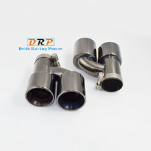 Hot! the Best Quality 2pcs/set Modified Car 1 to 2 Titanium black Exhaust Tail Muffler Tip Stainless Steel Pipe For MASK X(REIZ)