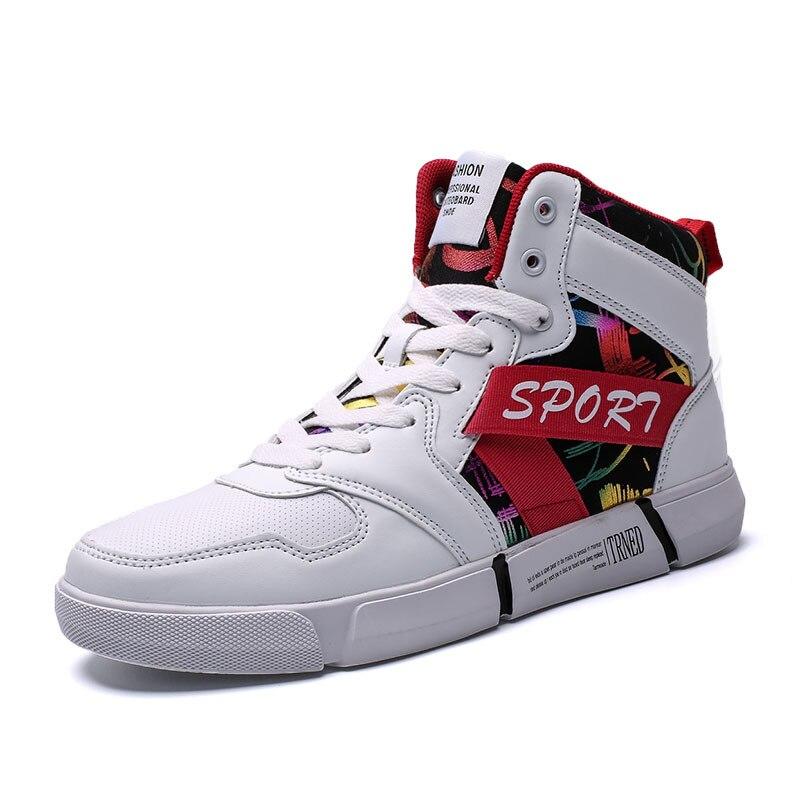 Brancas Planas branco 44 Superiores Homens Calçados Casuais Para Caminhada 39 vermelho Preto Altas Sapatilhas Porte Sapatos Tênis Preto De Grande Mens q6BtwR